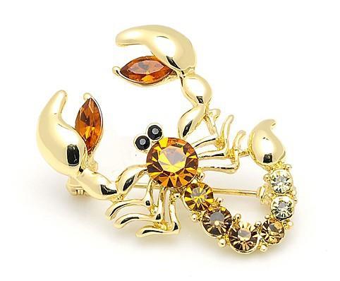 OneckOha Decorative Rhinestone Garment Jewelry Brooch Pin Bridal Wedding Crystal Animal Scorpion Brooch Pin