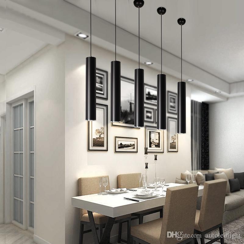 Lampade a sospensione creative, Lampada da cucina moderna Sala da pranzo Bancone bar Lampade a sospensione da tubo Lampada da cucina, Cilindro in alluminio