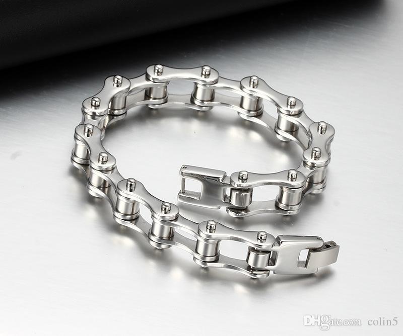 Vente chaude livraison gratuite homme mode 316L en acier inoxydable européen élégant vélo chaîne lien style bracelet