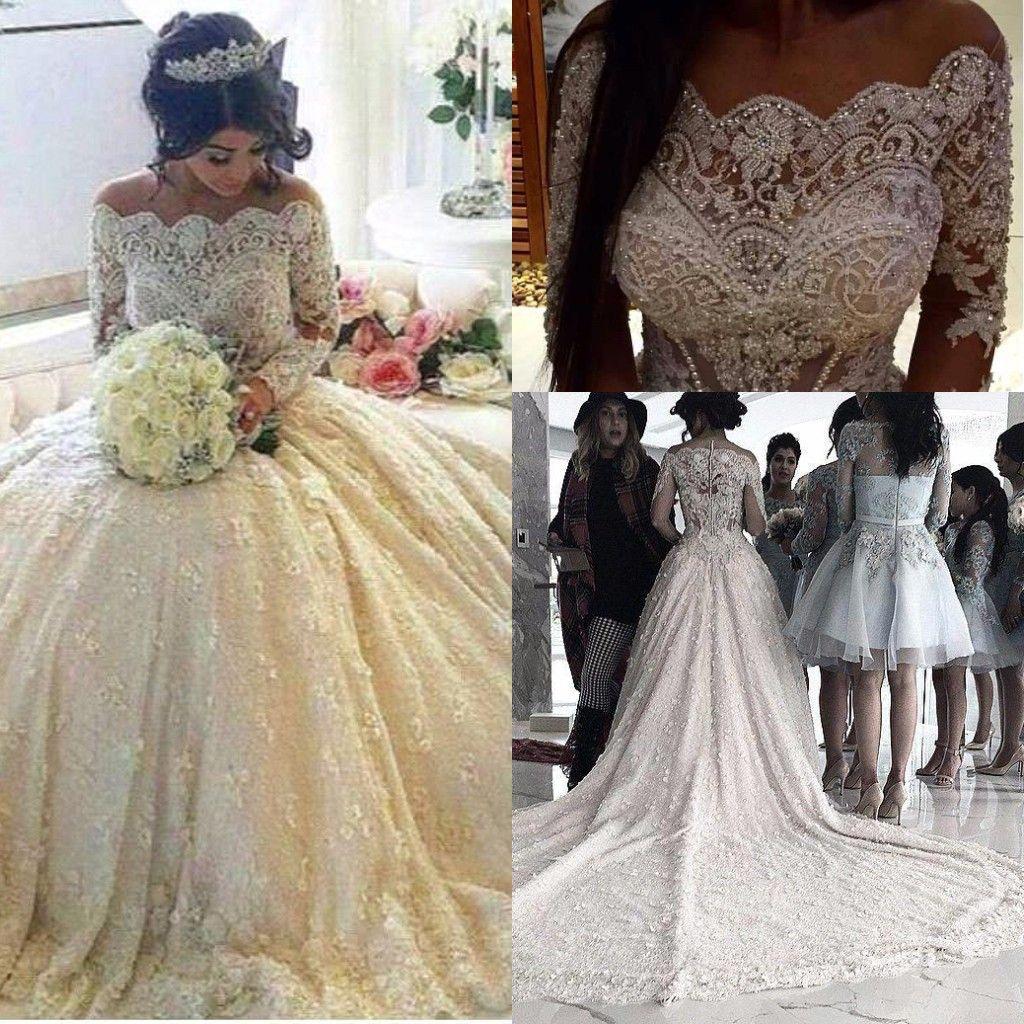 Luxo Manga Longa Vestidos de Casamento Bateau Pescoço com Contas de Strass Catedral Trem Coberto Botões Vestido De Árabe De Novia Vestidos de Noiva