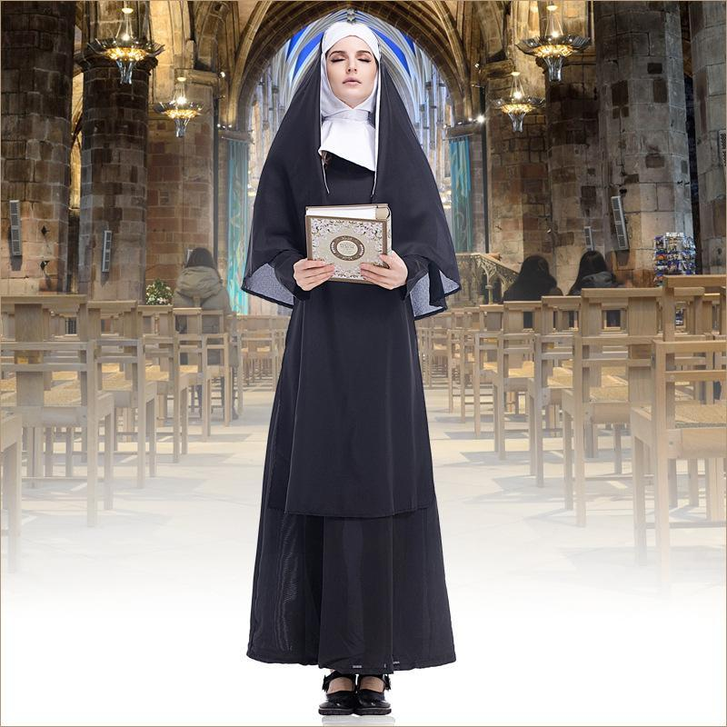autumn women halloween costumes with long sleeve wrapped head black nun character cosplay costumes woman clothes in party club dog halloween costume dorothy