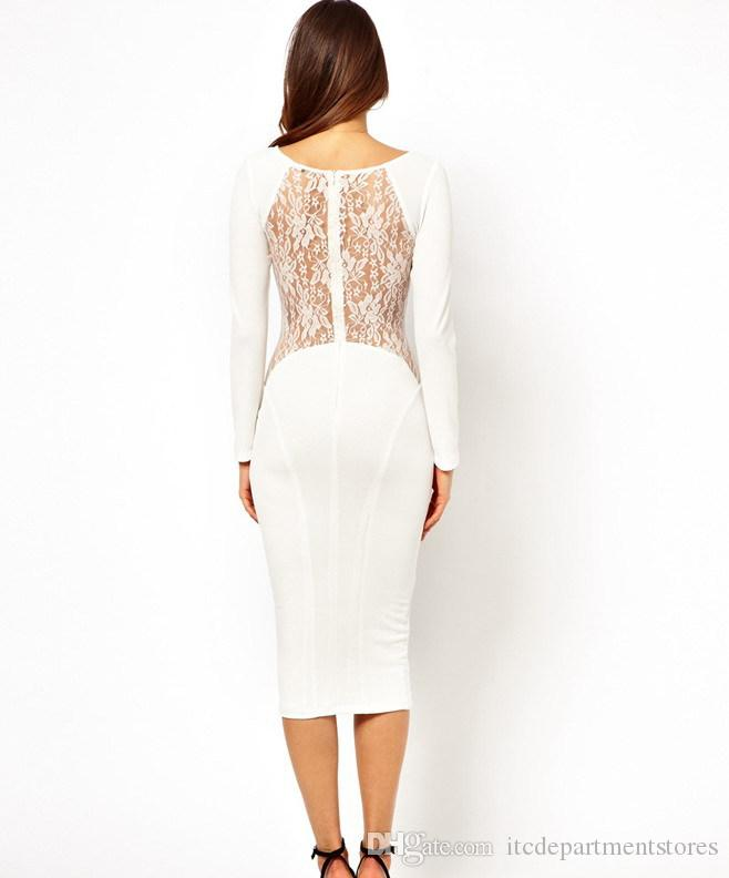 Top Quality Open Back Lace Long Sleeve Midi Dress Plus size XXL Bandage Slim Elegant White Black Sexy Office Party Tunics Gowns