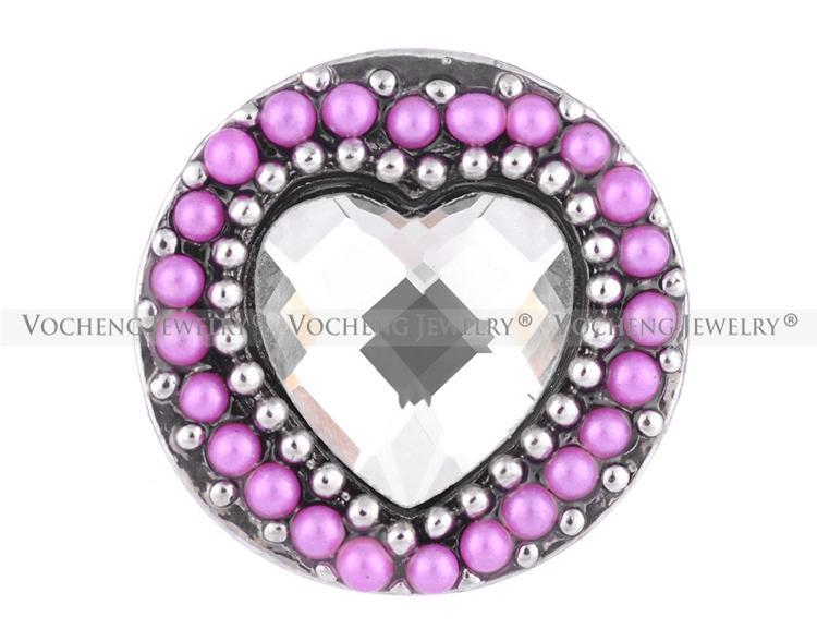 NOOSA 18mm bouton pression véritable amour rempli de perles rondes 3 couleurs coeur bouton pression VOCHENG Vn-1113