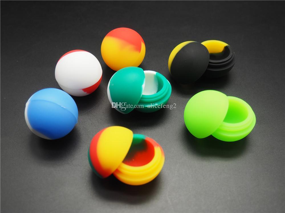 50x Ball Design Silikonowy Non-Stick-BHO DAB Wax Oil Pojemnik na olejek więcej niż dwa kolory 100 sztuk / partia