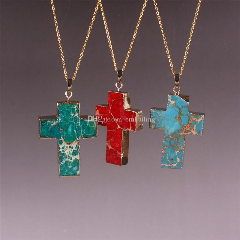Green Red Blue Sea Sediment Ocean Jasper Large Cross Charm Pendant Beads Necklace Men Women Christian Jewelry Best Christmas Gifts Wholesale