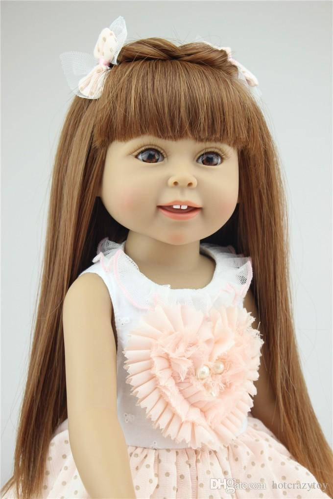 lovely 18 inch 45cm Girl Toy Doll Lifelike Movable Full Vinyl Body Smile Princess Girl Doll Gift in Princess Doll Dress