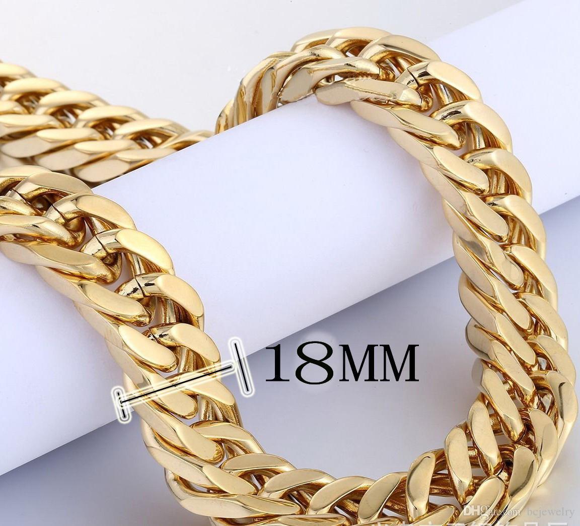 BC GD 18K 골드 도금 목걸이 남성 쥬얼리 2 색 18mm 와이드 체인 목걸이 스테인레스 스틸