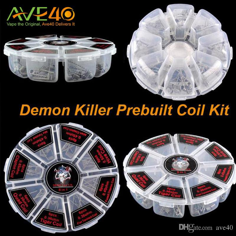 Demon Killer Wire 8 In 1 Prebuilt Coil Box Kit Flat twisted Fused clapton Hive premade wrap wires Alien Mix twisted Tiger Quad