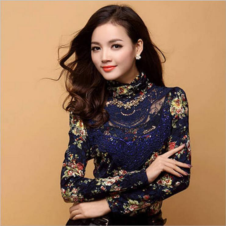 27192c11e85452 2019 New Arrival Fall Women Turtle Neck Top Nice Korean Slim Printed Floral  High Quality Lace High Necked Long Sleeved Shirt Hollow Bead Blouses From  ...