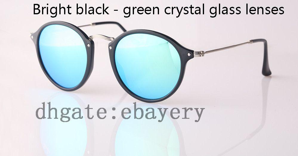High Quality Round Sunglasses Vintage Women Sunglasses UV400 Protection Brand Designer Sun Glass 49mm Nylon Frame Glass Lens With Box,Case