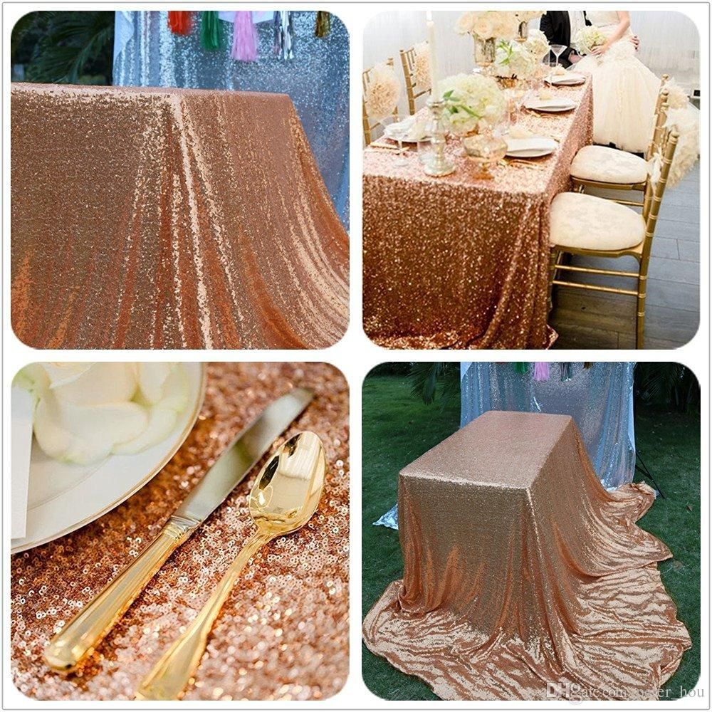 sequin table cloth high quality rose gold rectangle sequin tablecloth and table runners for wedding party holiday 50x80 inch many colors wedding decoration