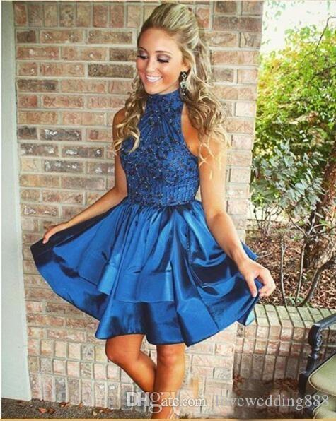 Green/Blue Short Cocktail Dresses 2017 High Neck Unique Top Tiered Skirt Formal Party Wear Girls Homecoming Gown