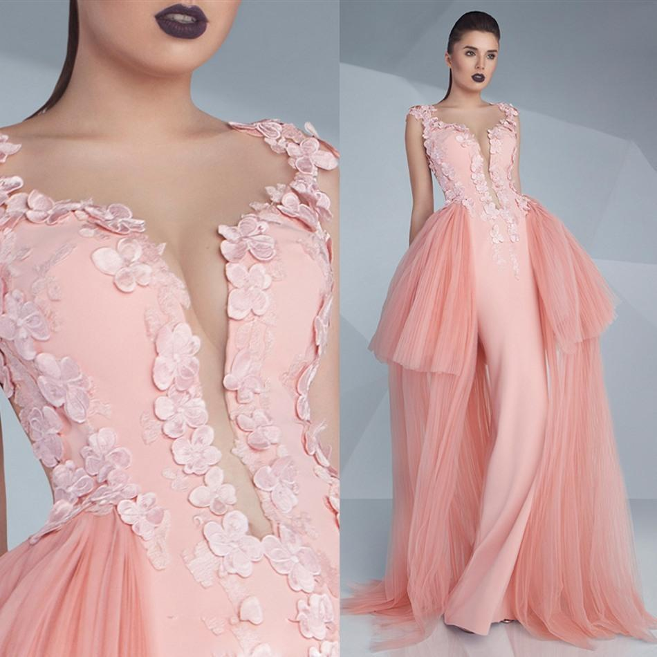 Saudi 2016 Mermaid Couture Prom Dresses Sexy Illusion Plunging ...