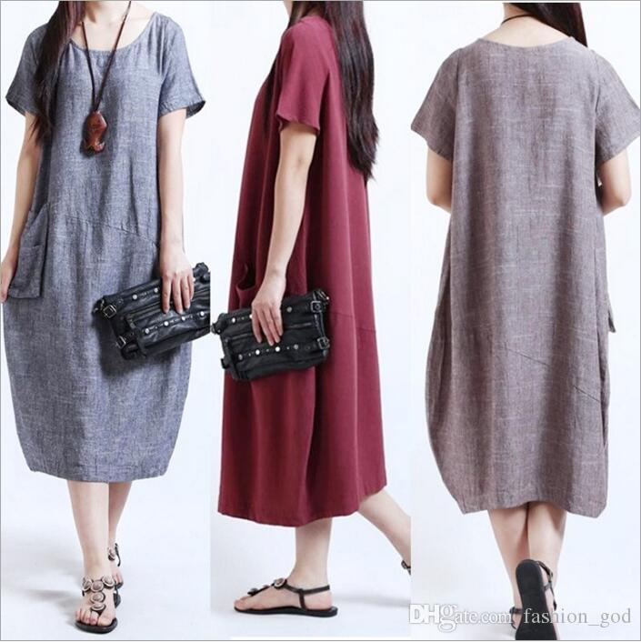 7e1032b6d08c Dresses Plus Size Baggy Dresses Women Summer Fashion Loose Casual Dress  Midi Round Collar Dress Solid Short Sleeve Dresses Vestidos B2660 Long  Striped ...