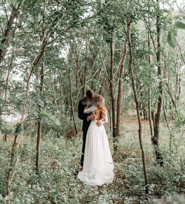 Mütevazı Backless Ülke Orman Kılıf Gelinlik Uzun Kollu V Boyun Kat Uzun Dantel Şifon 2019 Ucuz Bohemian Gelinlikler Artı Boyutu