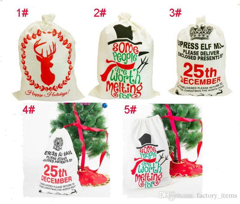 Sac à cordon de noël Sacs cadeaux Larger Toile de lin Père Noël Sac rennes Bonhomme de neige Sacs pour enfants Cadeaux Chaud