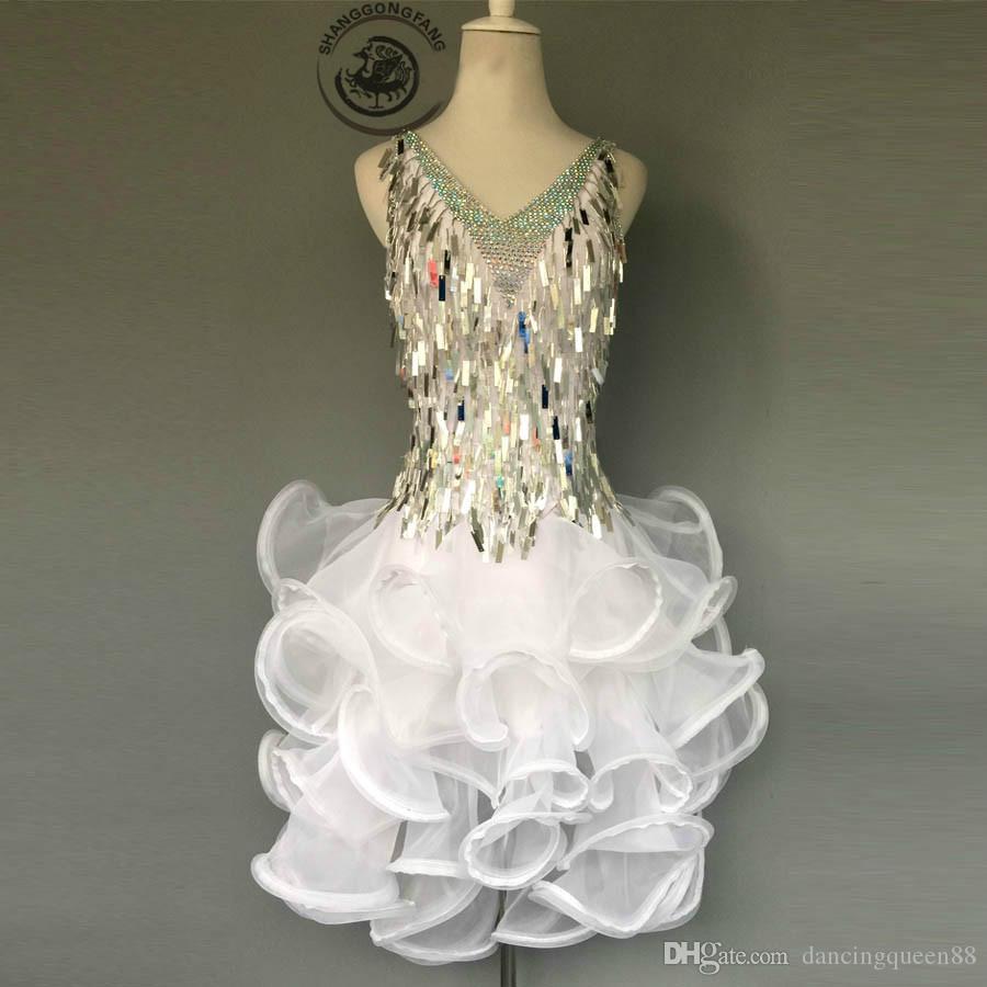 2020 de Competição Adulto / Infantil de Dança Latina Costume Sexy White Sequins Dança Latina Vestido Para Mulheres Criança latino vestidos de dança S-4XL