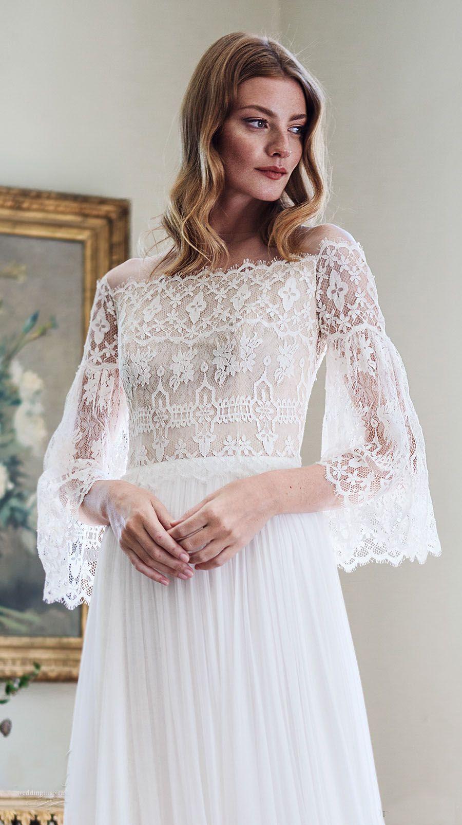 Discount 2017 Bohemian Wedding Dresses Long Bell Sleeves A Line ...