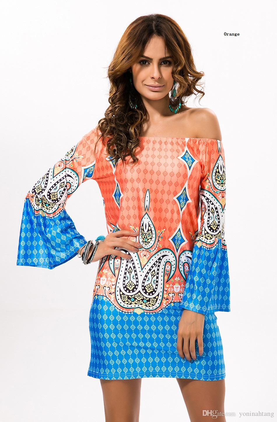 Wholesale Woman colorful Printing off shoulder flare sleeve beach Tunics Runway Dress For Girls