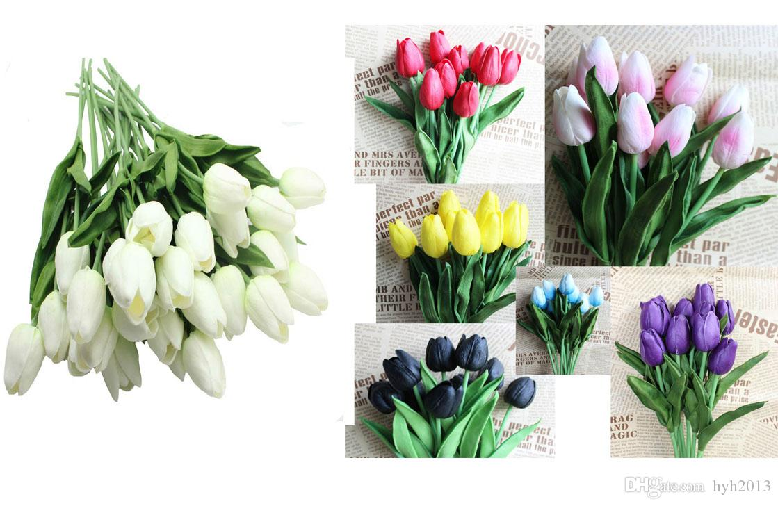 10 Pieces/lot Real Touch Flowers Mini Purple Blue White Black Tulip Bridal Bouquet Decoration Fake Flower 8 Colors