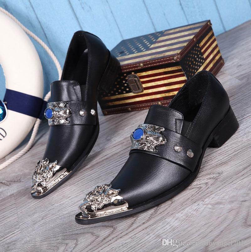Lüks Erkek Iş Eğlence Elbise Ayakkabı Japon Tasarımcı Metal Ayak Charm Erkekler Için Deri Ayakkabı Kayma Siyah Düz 38-46