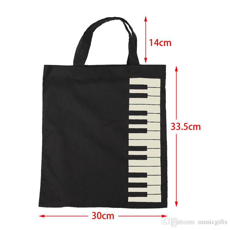 Keyboard Pattern Cotton Handbag Cotton Bag Shopper Grocery Bags Music Students Reusable Tote Carry Books Bags