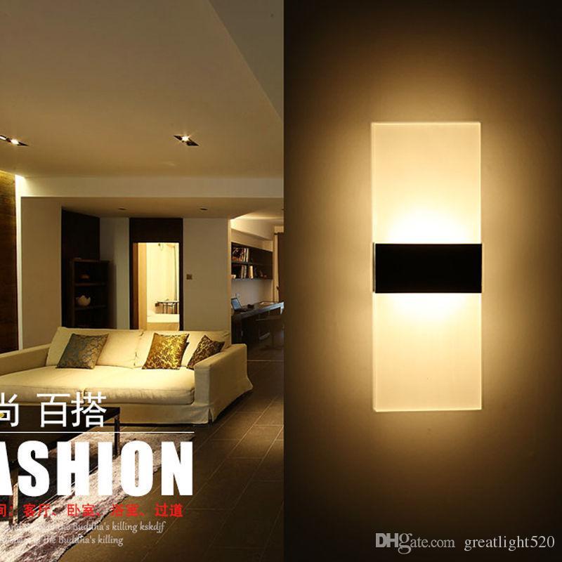 De pared de acrílico LED apliques de la pared interior de la lámpara de luz LED antiguo rectángulo luz del pórtico de la pared interior de la luz # 15