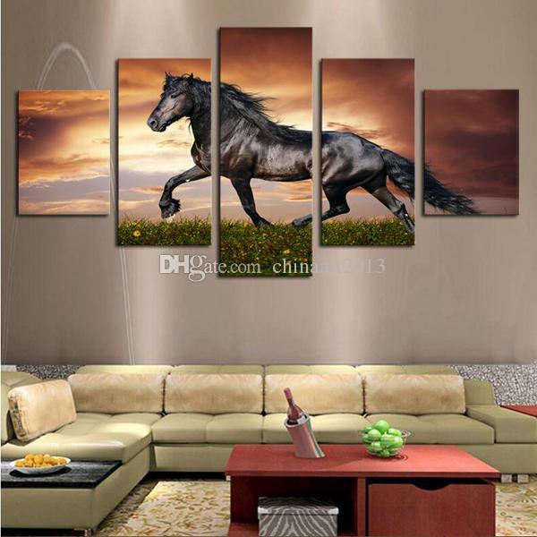 Cavalo galopando no prado 5 Peças HD impressão cenário pintura moderna moda arte da parede decoração de casa sala de estar