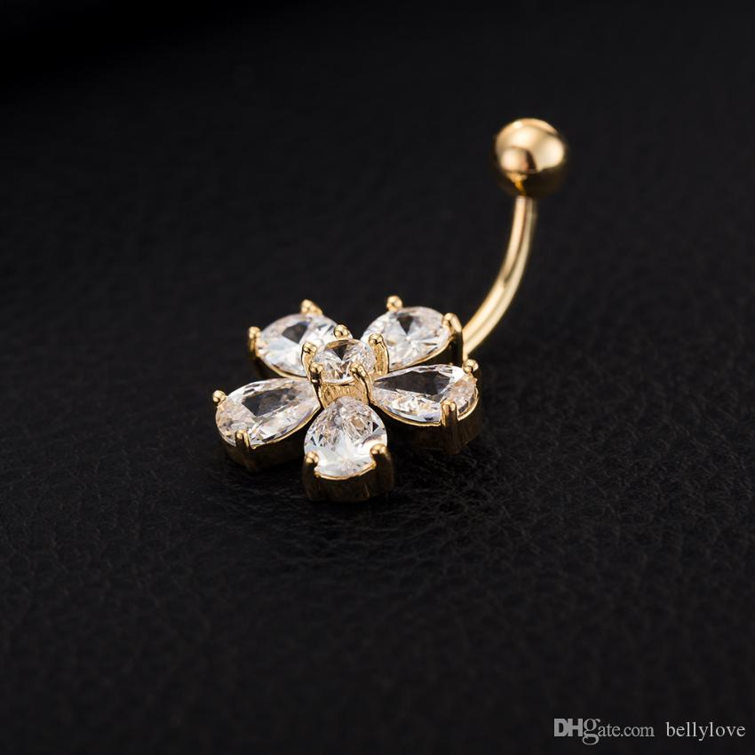 Fashion Body Jewelry 18K Yellow Gold Plated Clear Cubic Zirconia CZ Flowers Piercing Belly Button Ring for Women