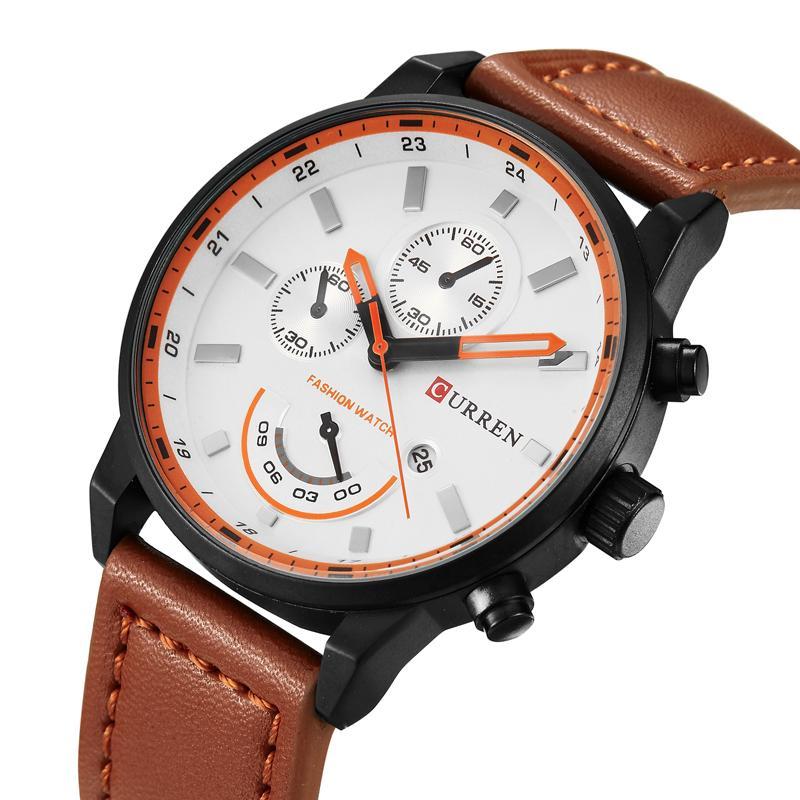 CURREN Original Brand Herren Sport wasserdicht Lederband Quarz Datum Armbanduhr 8217