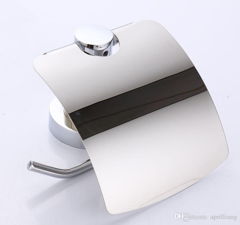 Wall Mounted Toilet Paper Roll Holder Cover Bathroom Accessories Bath Tissue Hanger Stainless Steel Chrome Plated Finishes