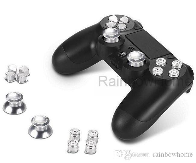 Bouton ABXY en Métal en Aluminium + Poignées de Pieds + D-Pad en Chrome pour PS4 DualShock 4 Boutons de Remplacement du Contrôleur Mod