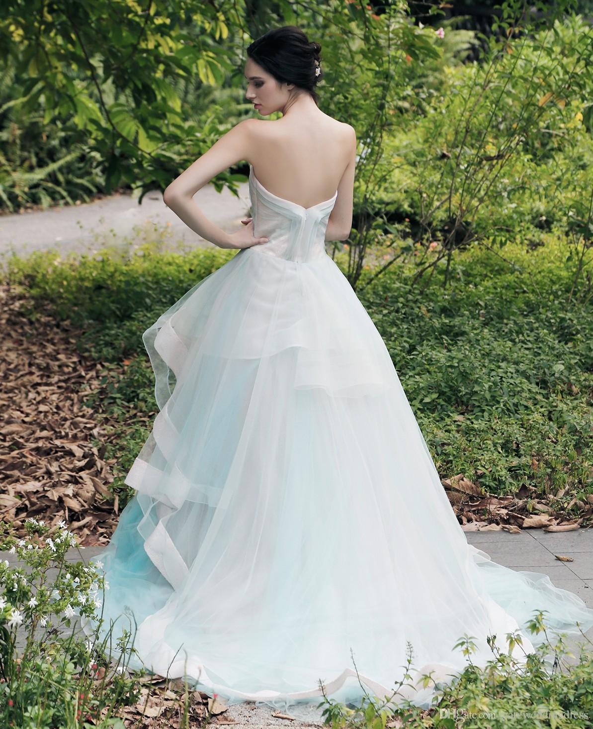 2016 abiti da ballo elegante sweetheart abiti da sera senza maniche a file volant indietro cerniera sweep treno custom made abiti da noiva