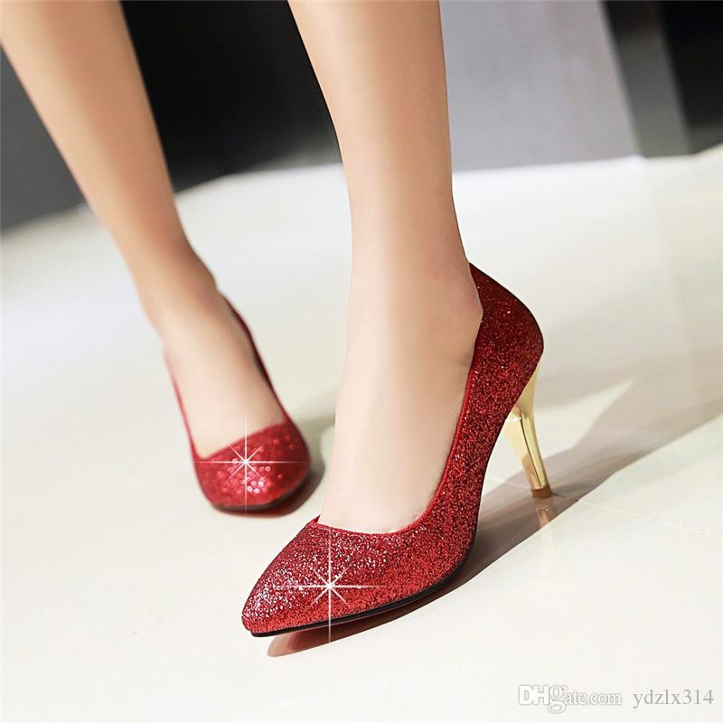 Autumn New Pointed Toe High Heel Thin Shallow Mouth Gold Sequins Crystal  Wedding Shoes Bridal Asakuchis Sexy Nightclub Single Shoe Casual Shoes For  Men Mens ... 110d5c60386c