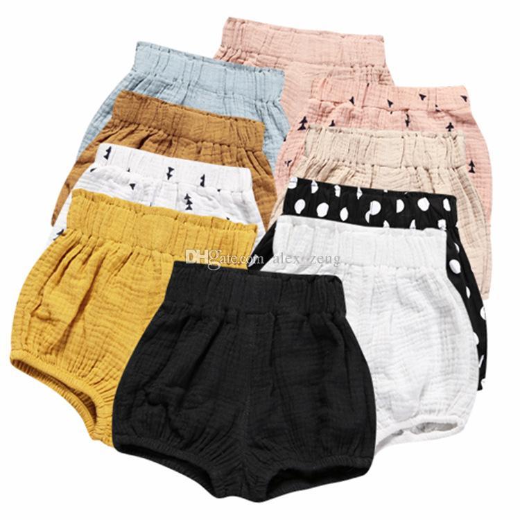 INS Bebek Erkek Kız PP Pantolon Yaz Üçgen Ekmek Pantolon Şort Çocuklar Şerit Nokta Pamuk ve Keten Bloomers 12 Renkler