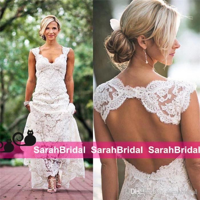 Vestidos de casamento de renda completa barato em v pescoço oco de volta longa varredura trem boho jardim vestido de noiva feito sob encomenda estilo country novo