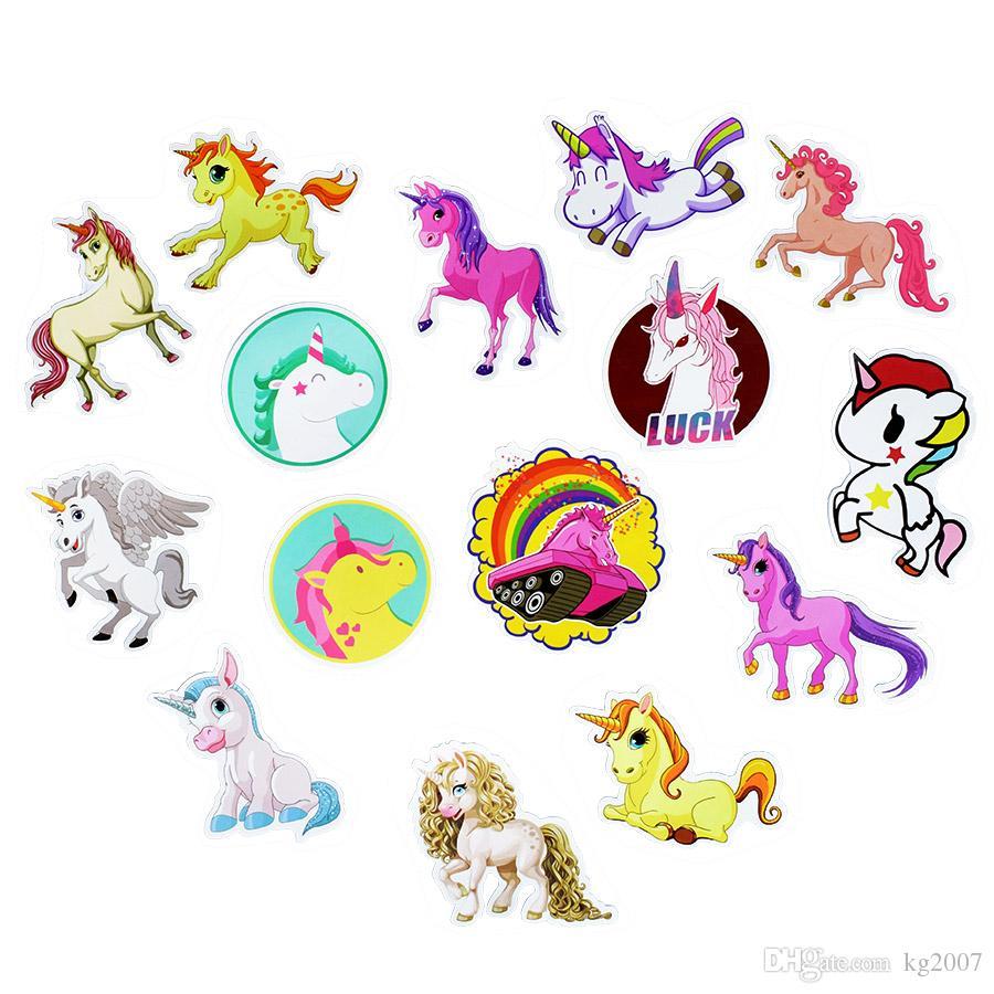 Cute Unicorn Adesivi personalizzati Adesivi murali poster camere Home Laptop Skateboard Bagagli Auto Bambini DIY Sticker Styling Cartoon