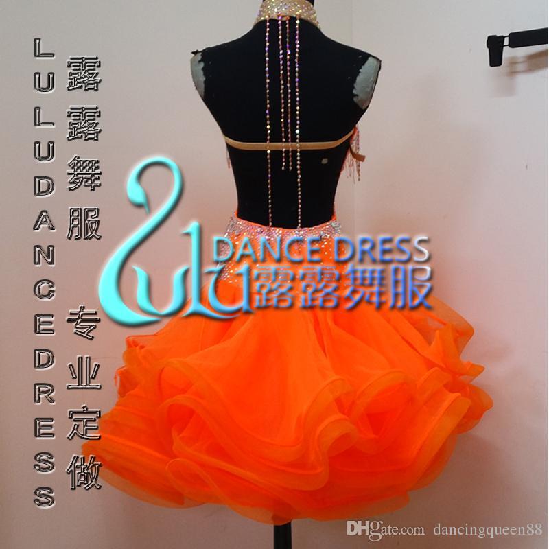 2016 사용자 지정 라틴 댄스 드레스 라인 스톤 의류 댄스 무대 의상 ChaCha 댄스 드레스 Organce Dancewear 경쟁 드레스