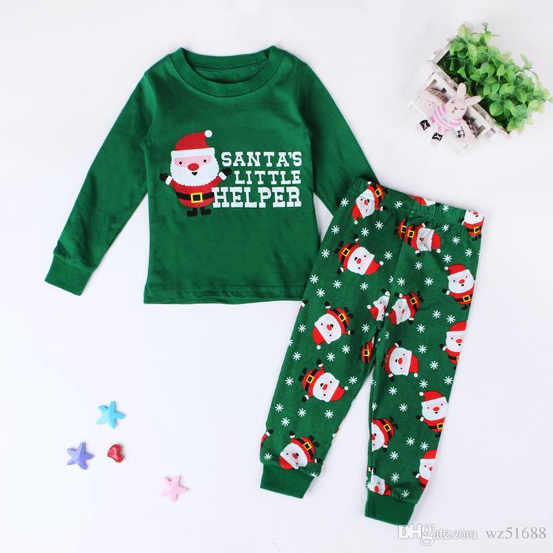 2017 Bébé Filles Enfants À Manches Longues Santa Claus Tops + Rayé Long Pantalon Tenue Vêtements Noël Ensemble Noël Enfant Livraison Gratuite