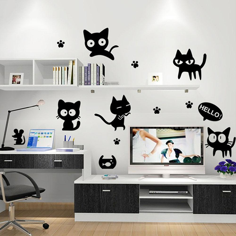 Animal carton black cat home decor wall sticker decals art poster see larger image amipublicfo Gallery