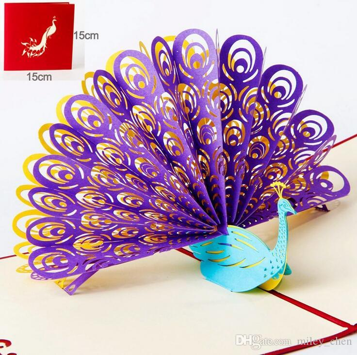 Perfect 3D Pop Up Birthday Wedding Party Card Peacock Design Christmas Postcard New Year Greeting Handmade Folding Kirigami Musical Cards