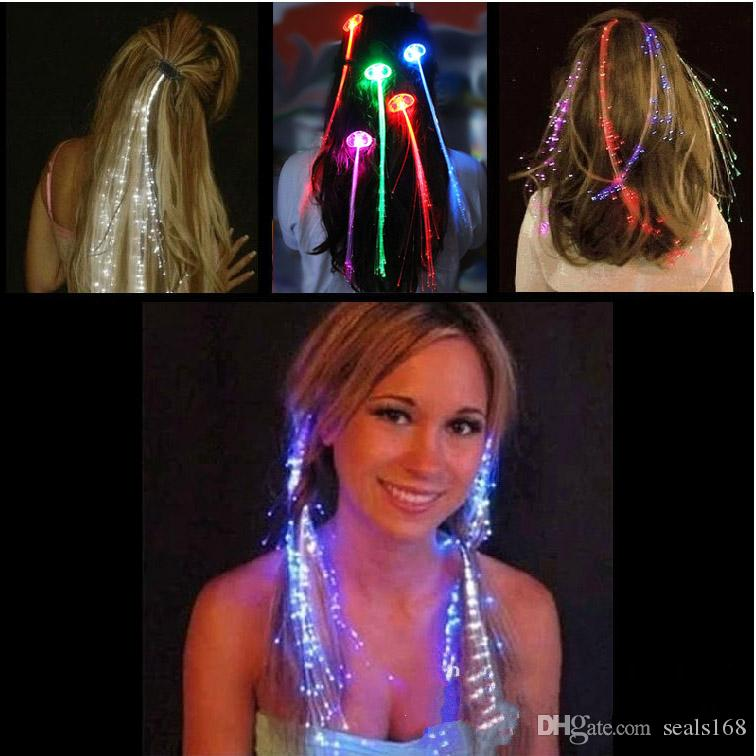LED Flash Braid Women Colorful Luminous Hair Clips Barrette Fiber Hairpin Light Up Party Halloween Bar Night Xmas Toys Decor DHL Ship HH-B13