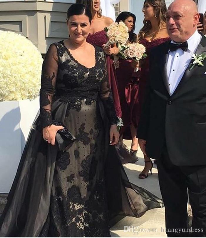 Großhandel Elegante Schwarze Spitze Mutter Der Braut Kleider Mit ...