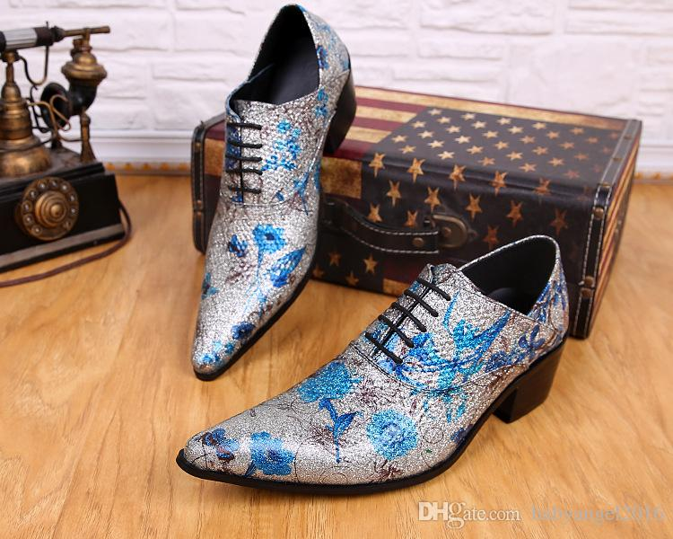 Shine Fashion Tide Mens Shoes Flower Silver Male Shoes Party Dance Shoes Genuine Leather Shoes