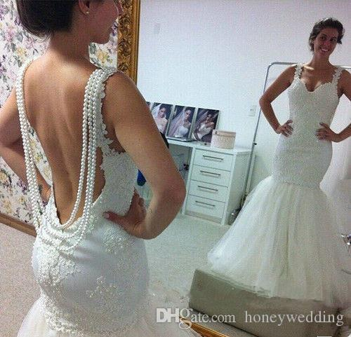 Glamorous 2017 New Collection Mermaid Wedding Dresses Spaghetti Straps Pearls Beading Backless Ruched Tulle Lace Plus Size Wedding Gowns