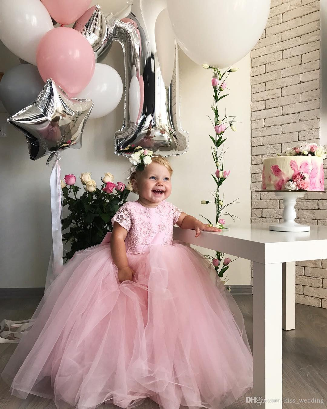 Adorable Baby Toddler Pageant Dress Pink Satin Bowknot Appliques Beaded Floor Length Long First Communication Dress Kids Birthday Gown
