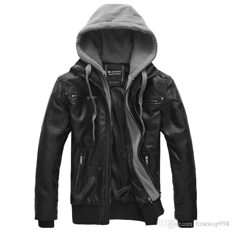 Mens Leather Hooded Parka