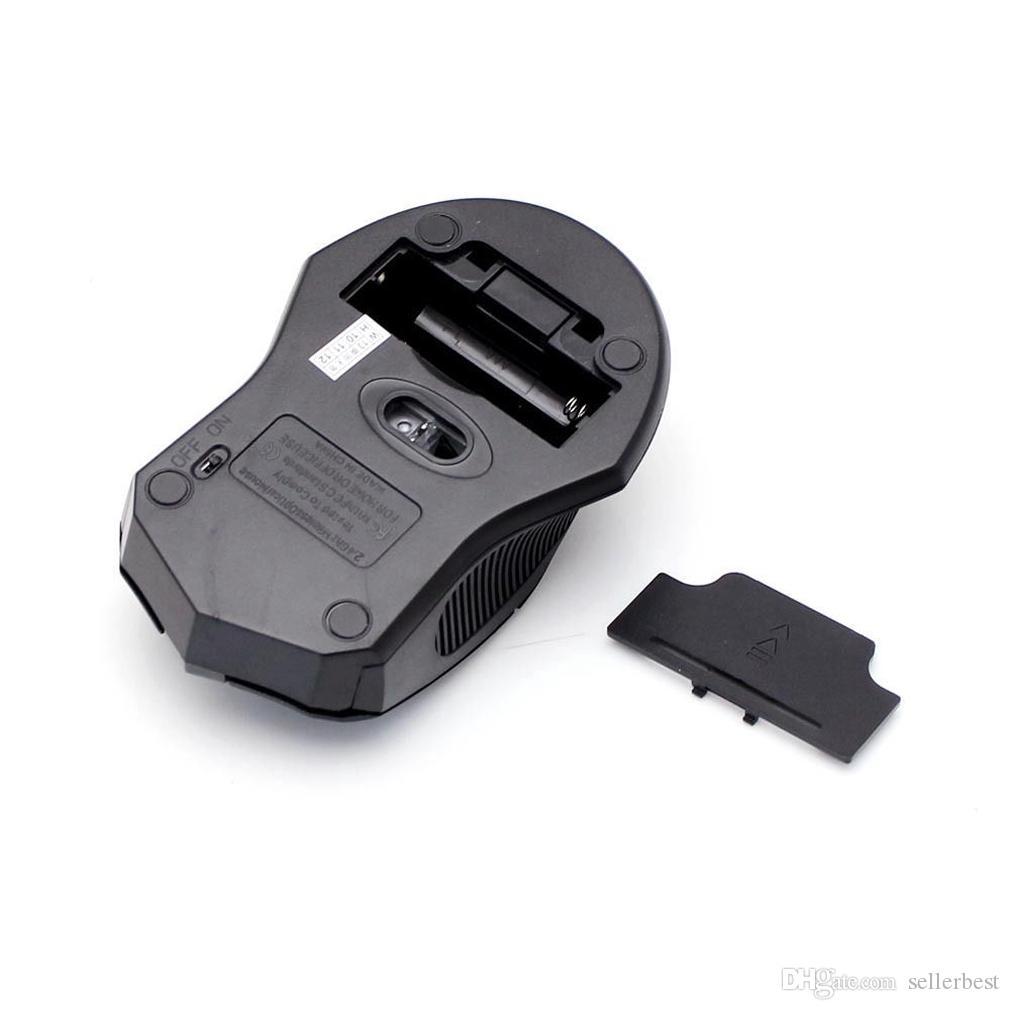 2.4GHz 1600 DPI 무선 광 마우스 블랙 마우스 + PC 노트북 용 USB 2.0 수신기