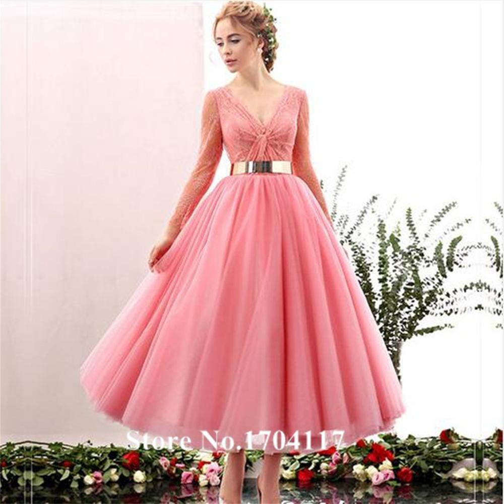 2016 Prom Dresses Long Sleeve Vestidos De Novia Tea Length Sexy With ...