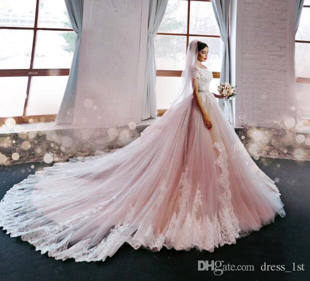 2019 Blush Pink Wedding Dresses Princess Off Shoulder Short Sleeves Lace Appliqued Chapel Train Bridal Gowns Custom Made China EN102514